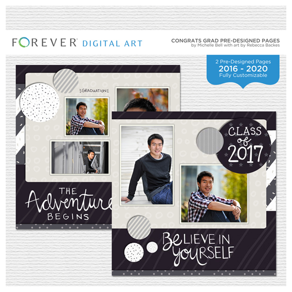 Congrats Grad Pre-designed Pages Digital Art - Digital Scrapbooking Kits