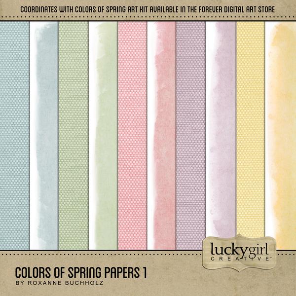 Colors Of Spring Papers 1 Digital Art - Digital Scrapbooking Kits