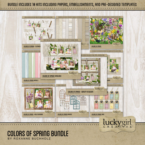 Colors Of Spring Bundle Digital Art - Digital Scrapbooking Kits