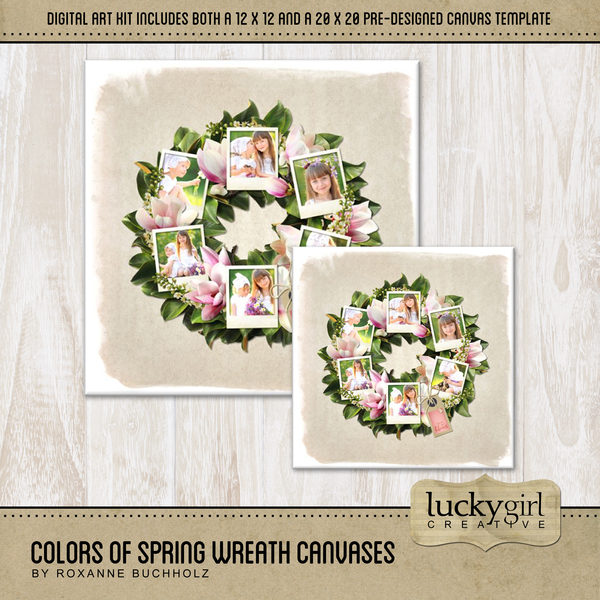 Colors Of Spring Wreath Canvases Digital Art - Digital Scrapbooking Kits