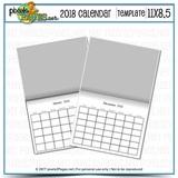 2018 11x8.5 Blank Calendar Template