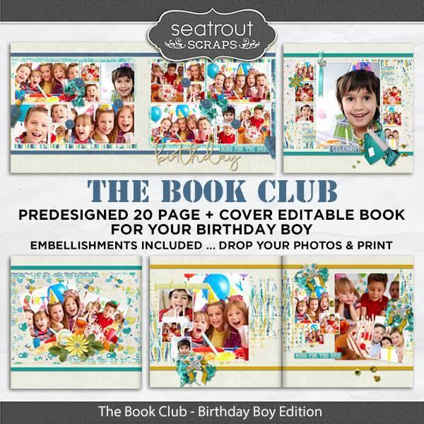 The Book Club - Birthday Boy Predesigned Editable Book Digital Art - Digital Scrapbooking Kits