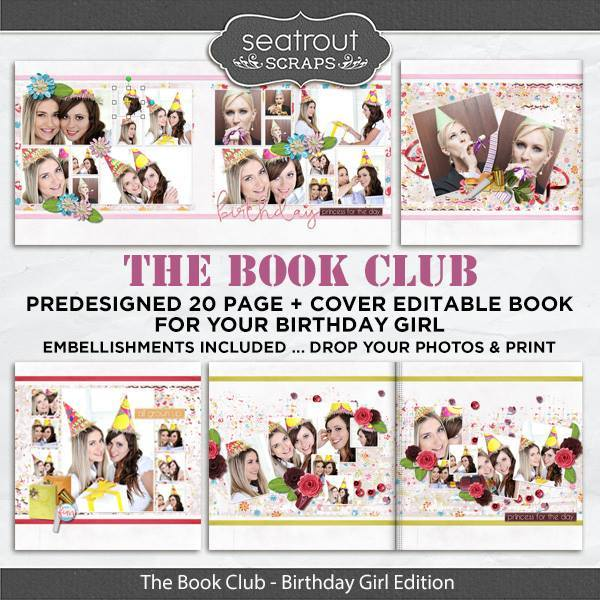 The Book Club - Birthday Girl Predesigned Editable Book Digital Art - Digital Scrapbooking Kits