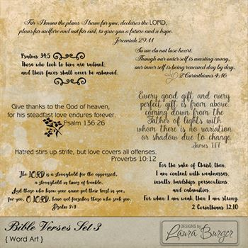 Bible Verses Set 3 Digital Art - Digital Scrapbooking Kits