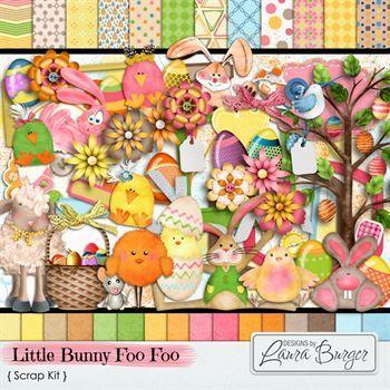 Little Bunny Foo Foo Scrap Kit Digital Art - Digital Scrapbooking Kits