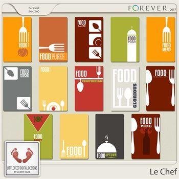 Le Chef Journal Cards Digital Art - Digital Scrapbooking Kits