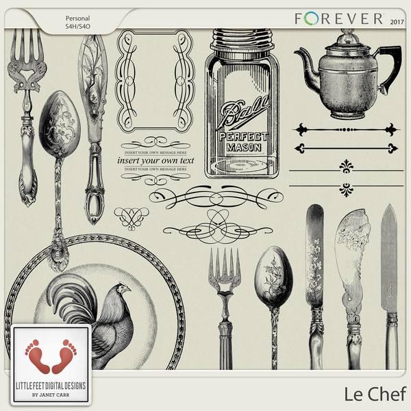 Le Chef Stamps Digital Art - Digital Scrapbooking Kits