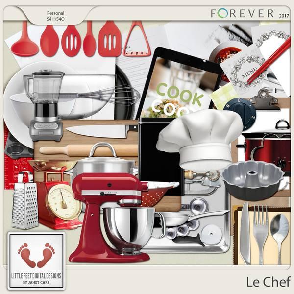 Le Chef Utensils Digital Art - Digital Scrapbooking Kits