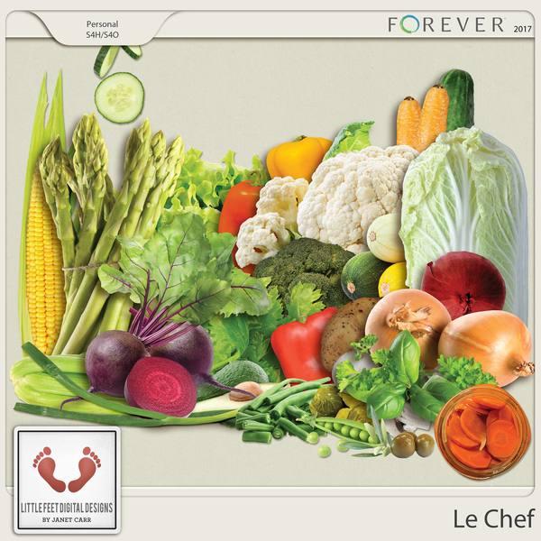 Le Chef Vegetables Digital Art - Digital Scrapbooking Kits