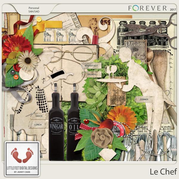 Le Chef Vintage Elements Digital Art - Digital Scrapbooking Kits