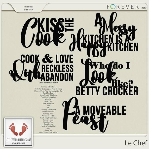 Le Chef Word Art Digital Art - Digital Scrapbooking Kits