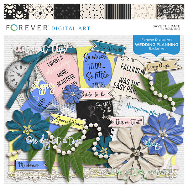 Save The Date Digital Art - Digital Scrapbooking Kits