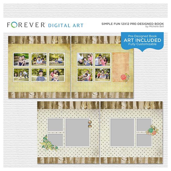 Simple Fun 12x12 Predesigned Book Digital Art - Digital Scrapbooking Kits