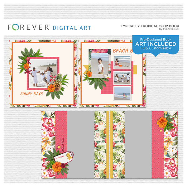 Typically Tropical 12x12 Predesigned Book Digital Art - Digital Scrapbooking Kits