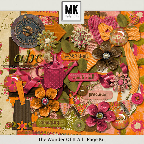 The Wonder Of It All Page Kit Digital Art - Digital Scrapbooking Kits