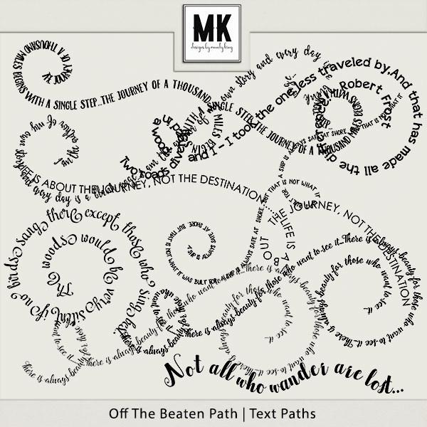 Off The Beaten Path - Text Paths Digital Art - Digital Scrapbooking Kits