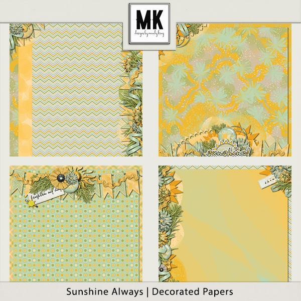 Sunshine Always - Decorated Papers Digital Art - Digital Scrapbooking Kits