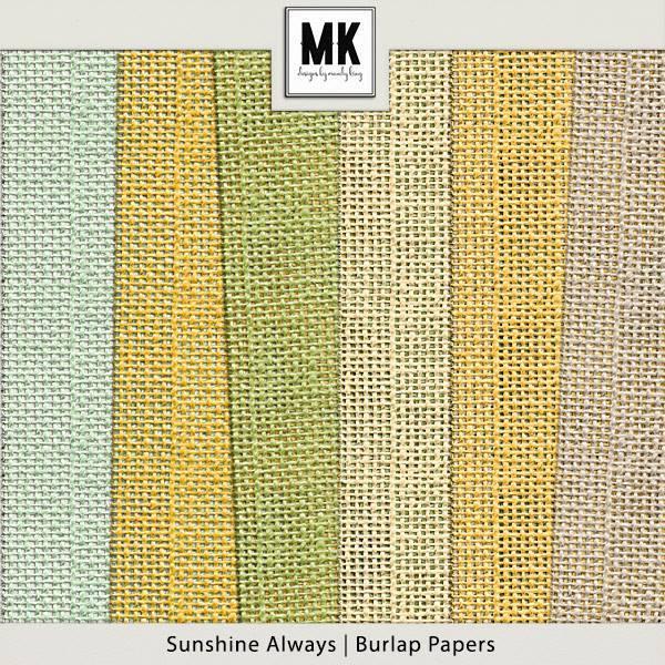 Sunshine Always - Burlap Papers Digital Art - Digital Scrapbooking Kits