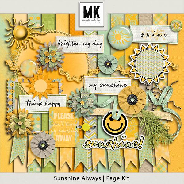 Sunshine Always - Page Kit Digital Art - Digital Scrapbooking Kits