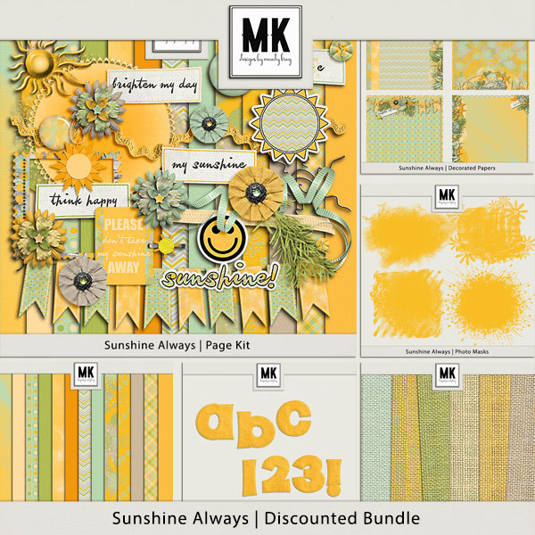 Sunshine Always - Discounted Bundle Digital Art - Digital Scrapbooking Kits