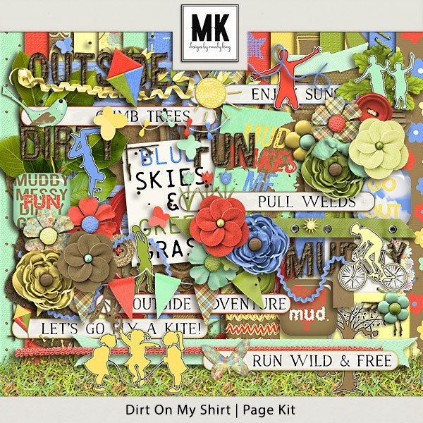Dirt On My Shirt - Page Kit Digital Art - Digital Scrapbooking Kits