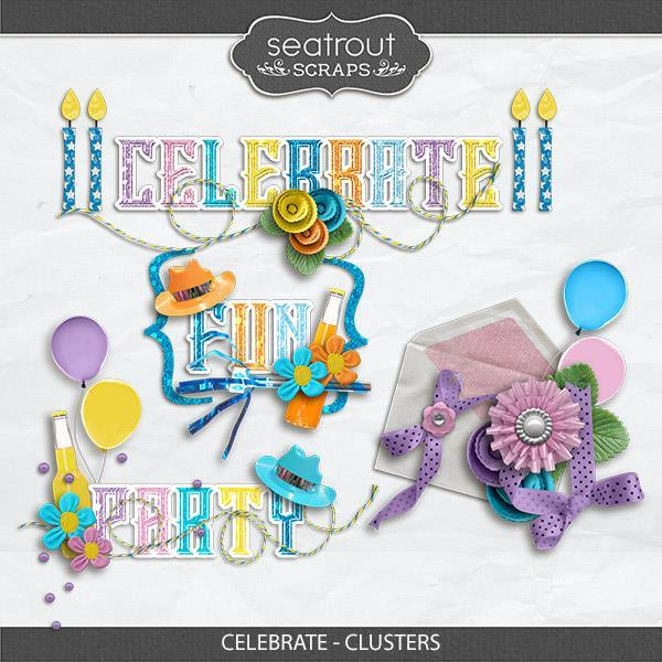 Celebrate - Clusters Digital Art - Digital Scrapbooking Kits