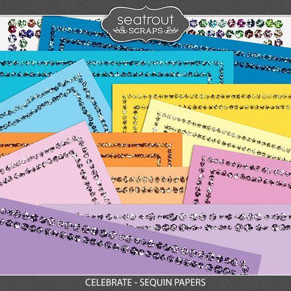 Celebrate - Sequin Papers Digital Art - Digital Scrapbooking Kits