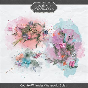 Country Whimsies - Watercolor Splats Digital Art - Digital Scrapbooking Kits