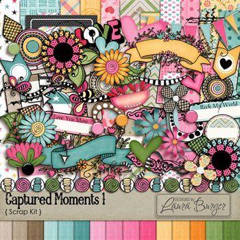 Captured Moments 1 Scrap Kit Digital Art - Digital Scrapbooking Kits