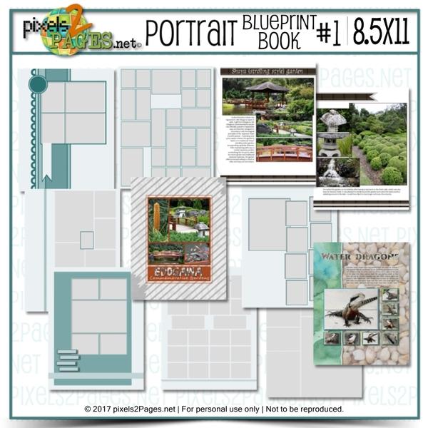 8.5x11 Portrait Blueprint Book #1 Digital Art - Digital Scrapbooking Kits