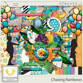 Chasing Rainbows Digital Art - Digital Scrapbooking Kits