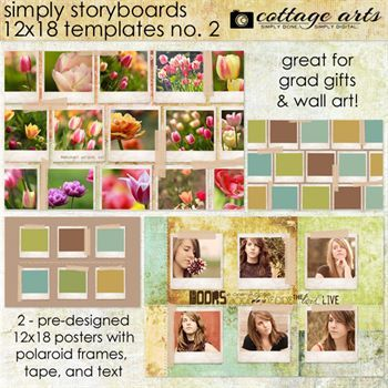 Simply Storyboards 2 - 12x18 Templates Digital Art - Digital Scrapbooking Kits