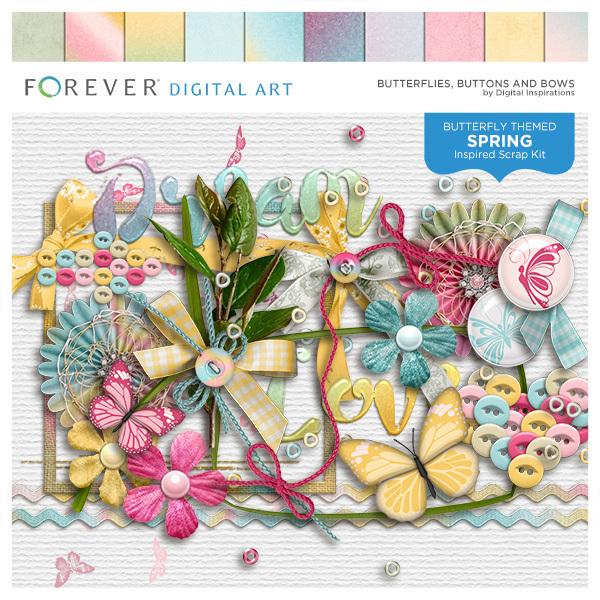 Butterflies, Buttons And Bows Digital Art - Digital Scrapbooking Kits