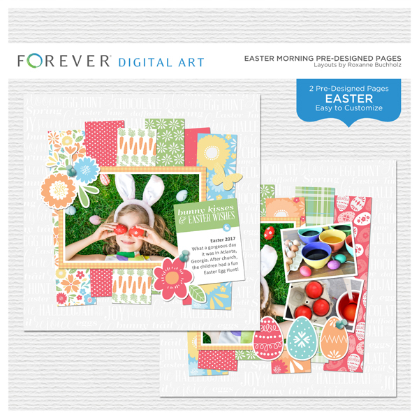 Easter Morning Pre-designed Pages Digital Art - Digital Scrapbooking Kits