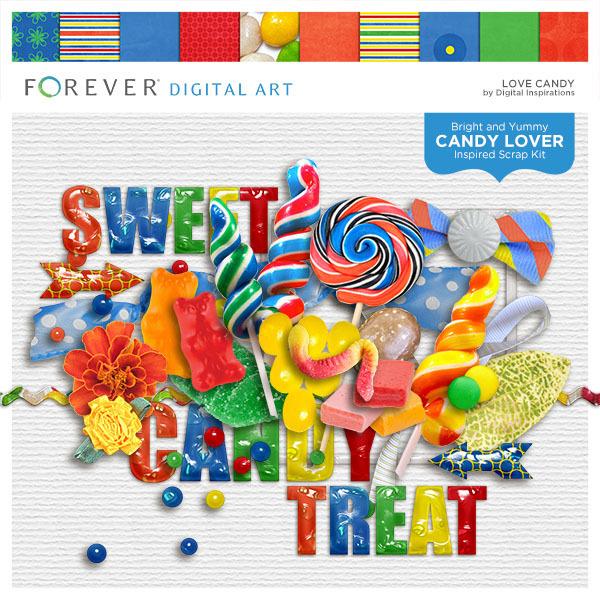 Love Candy Digital Art - Digital Scrapbooking Kits