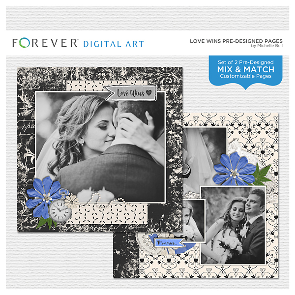 Love Wins Predesigned Pages Digital Art - Digital Scrapbooking Kits