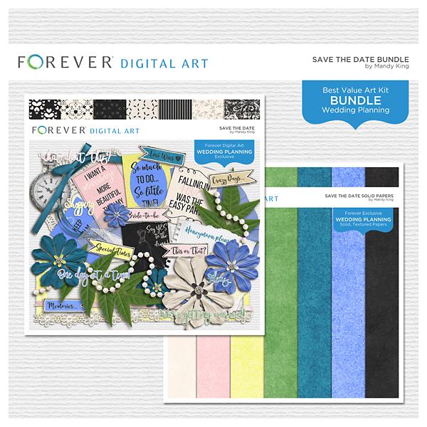 Save The Date Bundle Digital Art - Digital Scrapbooking Kits