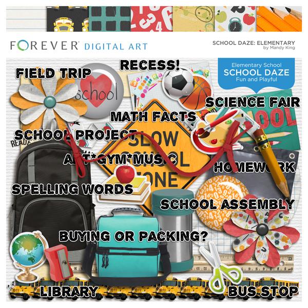 School Daze Elementary Digital Art - Digital Scrapbooking Kits