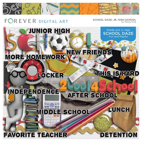 School Daze Jr. High School Digital Art - Digital Scrapbooking Kits