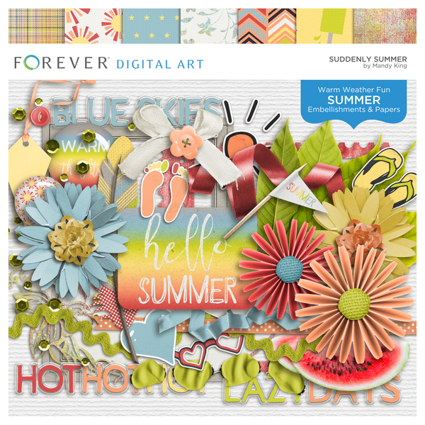 Suddenly Summer Digital Art - Digital Scrapbooking Kits