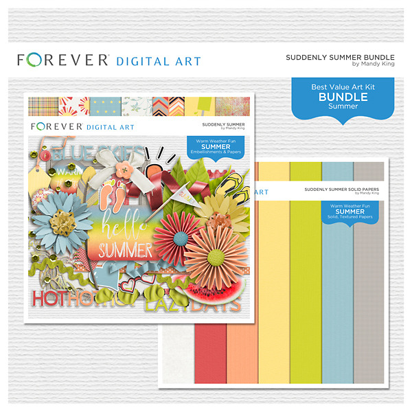 Suddenly Summer Bundle Digital Art - Digital Scrapbooking Kits