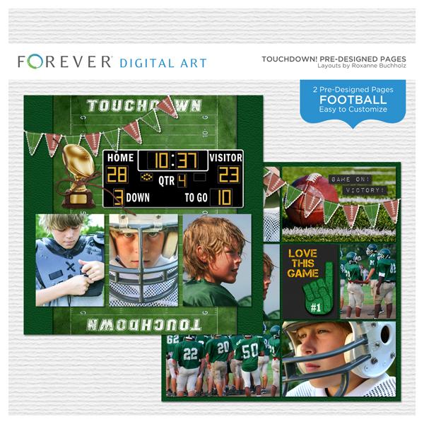 Touchdown! Pre-designed Pages Digital Art - Digital Scrapbooking Kits