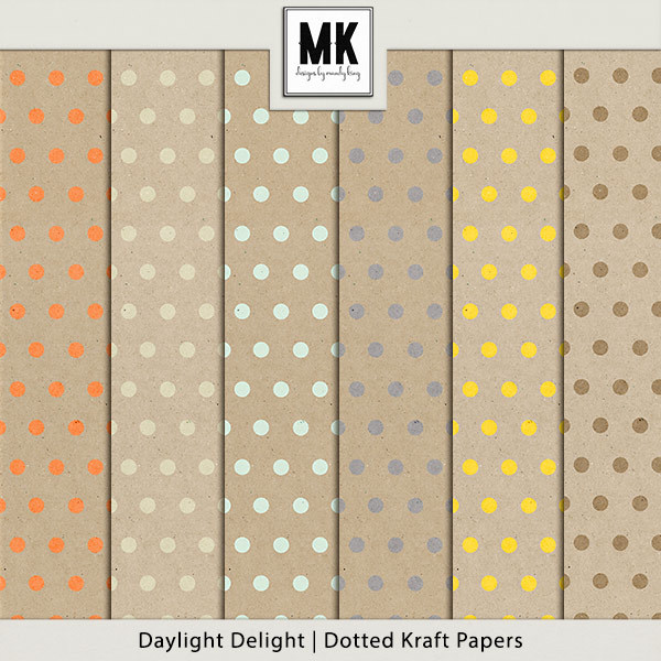 Daylight Delight - Dotted Kraft Papers Digital Art - Digital Scrapbooking Kits