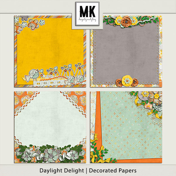 Daylight Delight - Decorated Papers Digital Art - Digital Scrapbooking Kits