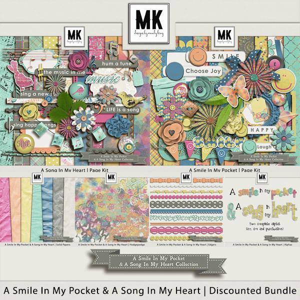 Smile In My Pocket & A Song In My Heart - Discounted Bundle Digital Art - Digital Scrapbooking Kits
