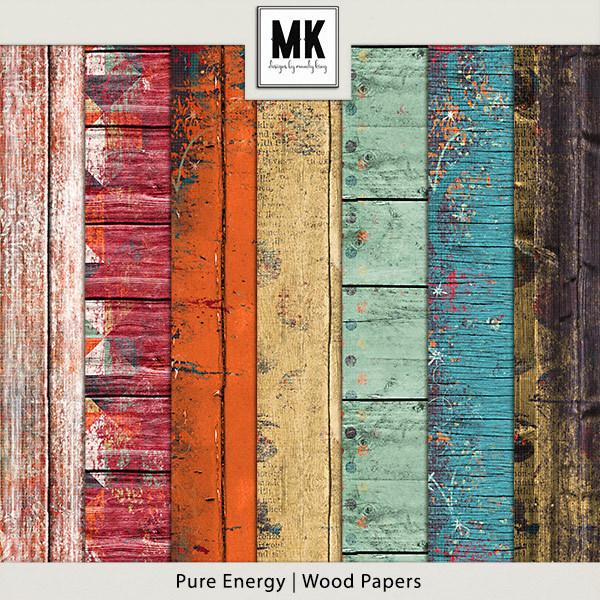 Pure Energy - Wood Papers Digital Art - Digital Scrapbooking Kits
