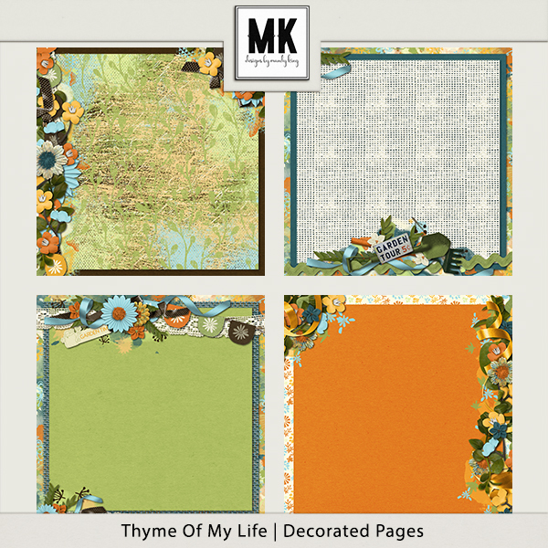 Thyme Of My Life - Decorated Papers Digital Art - Digital Scrapbooking Kits