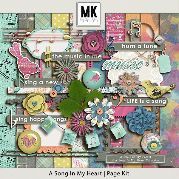 Smile In My Pocket & A Song In My Heart - A Song In My Heart Page Kit Digital Art - Digital Scrapbooking Kits