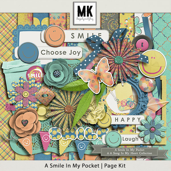 Smile In My Pocket & A Song In My Heart - A Smile In My Pocket Page Kit Digital Art - Digital Scrapbooking Kits