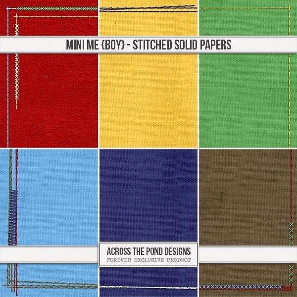Mini Me - Boy Stitched Solids Digital Art - Digital Scrapbooking Kits